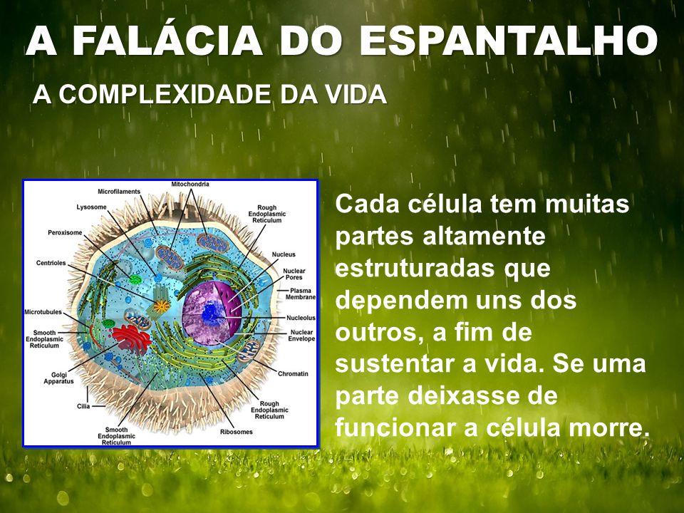 A COMPLEXIDADE DA VIDA Cada célula tem muitas partes altamente estruturadas que dependem uns dos outros, a fim de sustentar a vida.