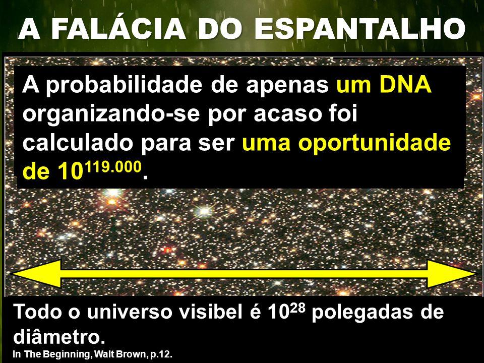 A probabilidade de apenas um DNA organizando-se por acaso foi calculado para ser uma oportunidade de 10 119.000. Todo o universo visibel é 10 28 poleg