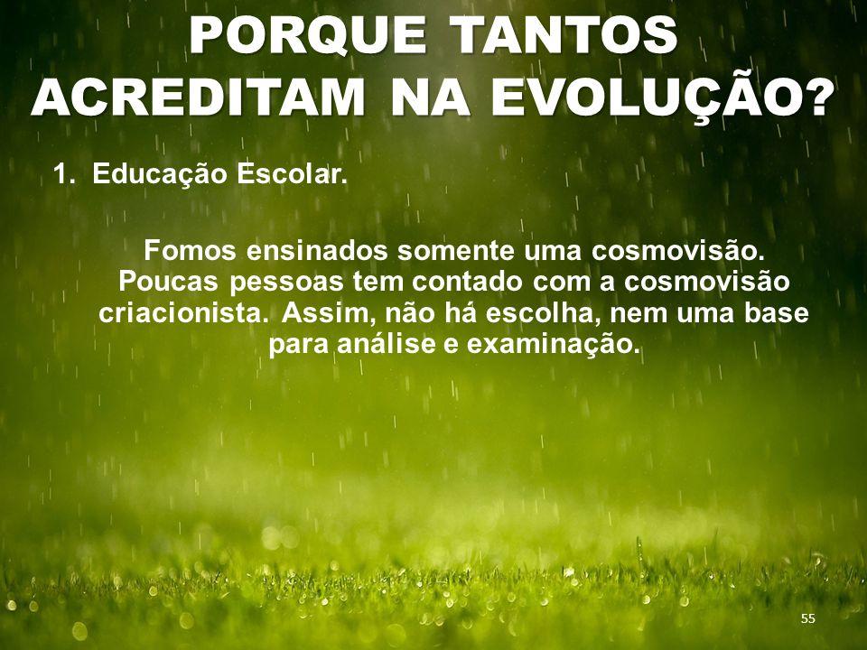 PORQUE TANTOS ACREDITAM NA EVOLUÇÃO. 55 1. Educação Escolar.