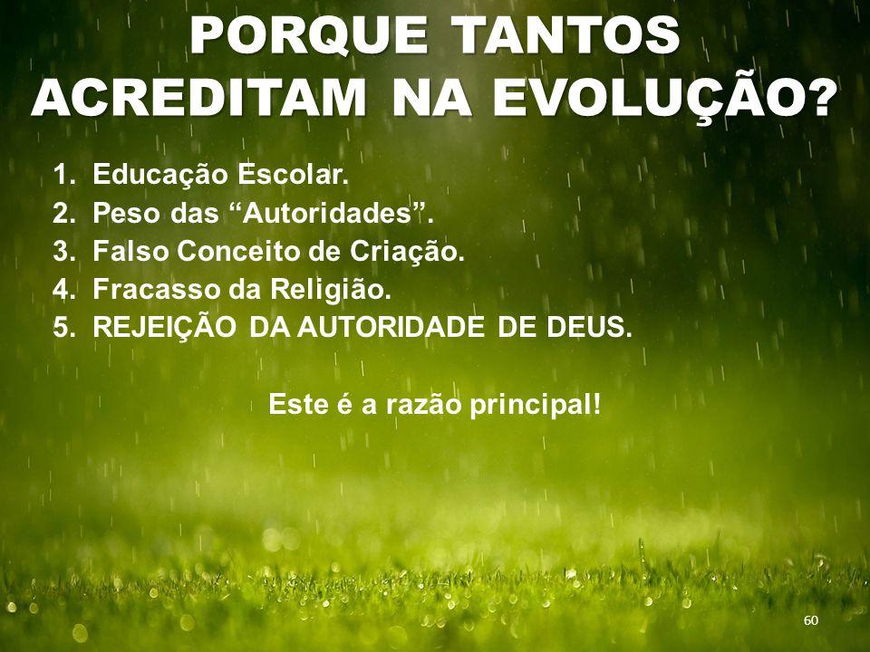 PORQUE TANTOS ACREDITAM NA EVOLUÇÃO. 60 1. Educação Escolar.