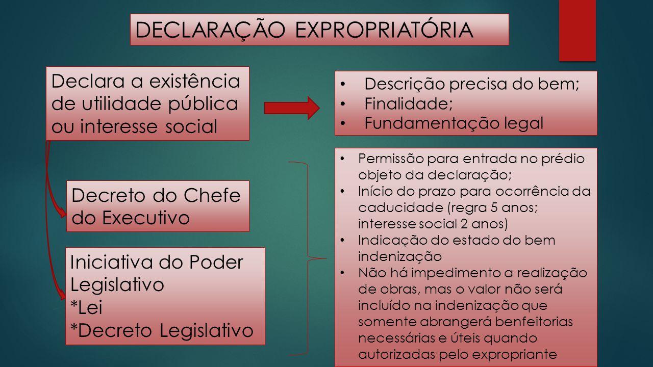 DECLARAÇÃO EXPROPRIATÓRIA Declara a existência de utilidade pública ou interesse social Decreto do Chefe do Executivo Iniciativa do Poder Legislativo