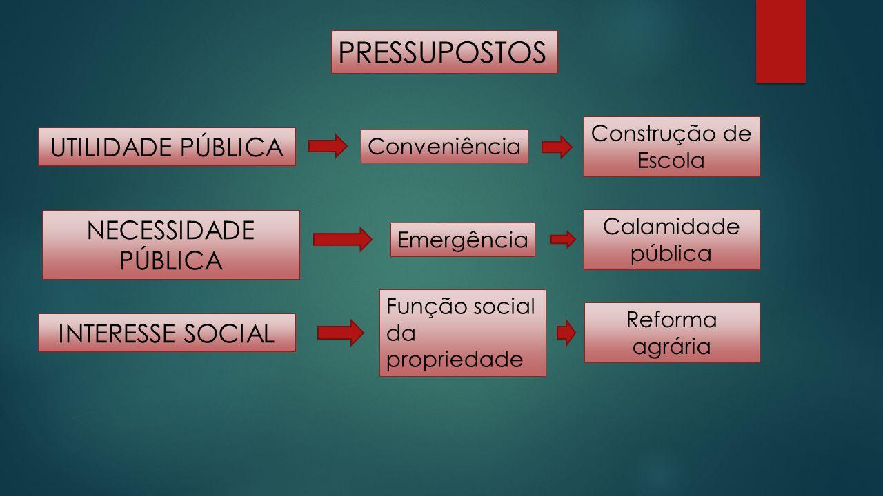 PRESSUPOSTOS UTILIDADE PÚBLICA INTERESSE SOCIAL NECESSIDADE PÚBLICA Conveniência Construção de Escola Emergência Calamidade pública Função social da p
