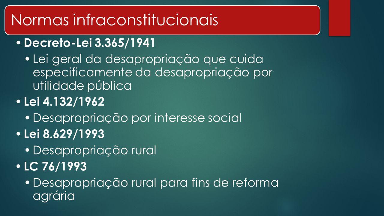 Normas infraconstitucionais Decreto-Lei 3.365/1941 Lei geral da desapropriação que cuida especificamente da desapropriação por utilidade pública Lei 4