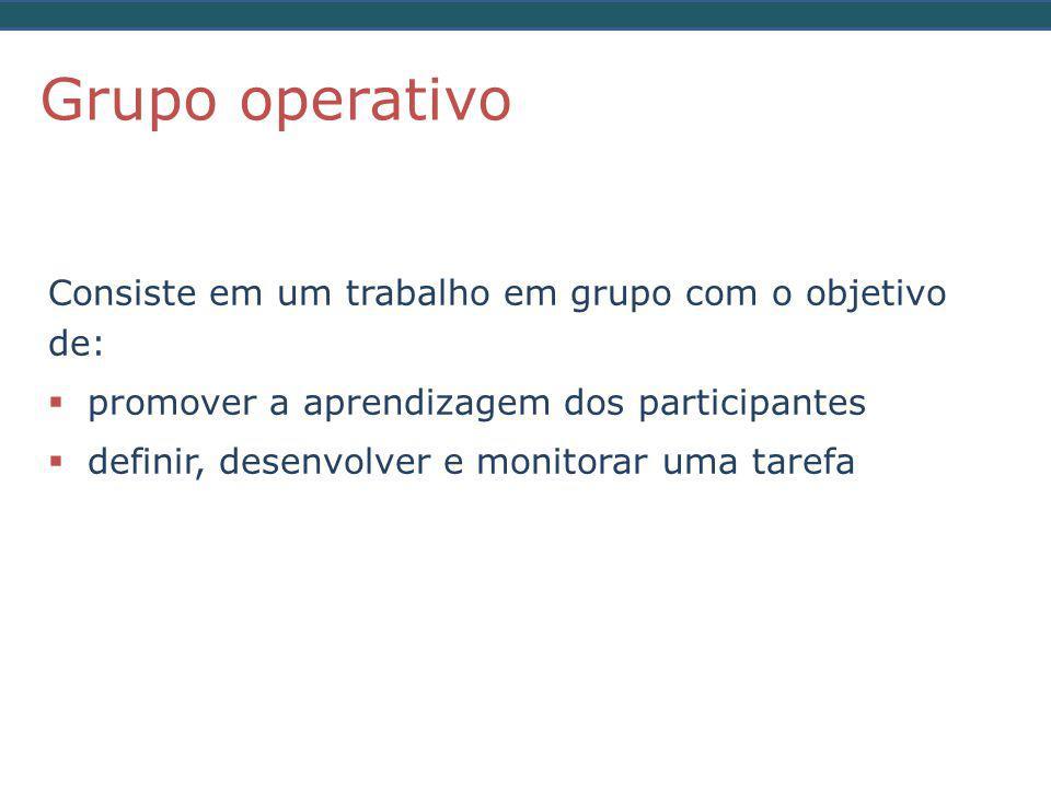 Consiste em um trabalho em grupo com o objetivo de:  promover a aprendizagem dos participantes  definir, desenvolver e monitorar uma tarefa Grupo operativo