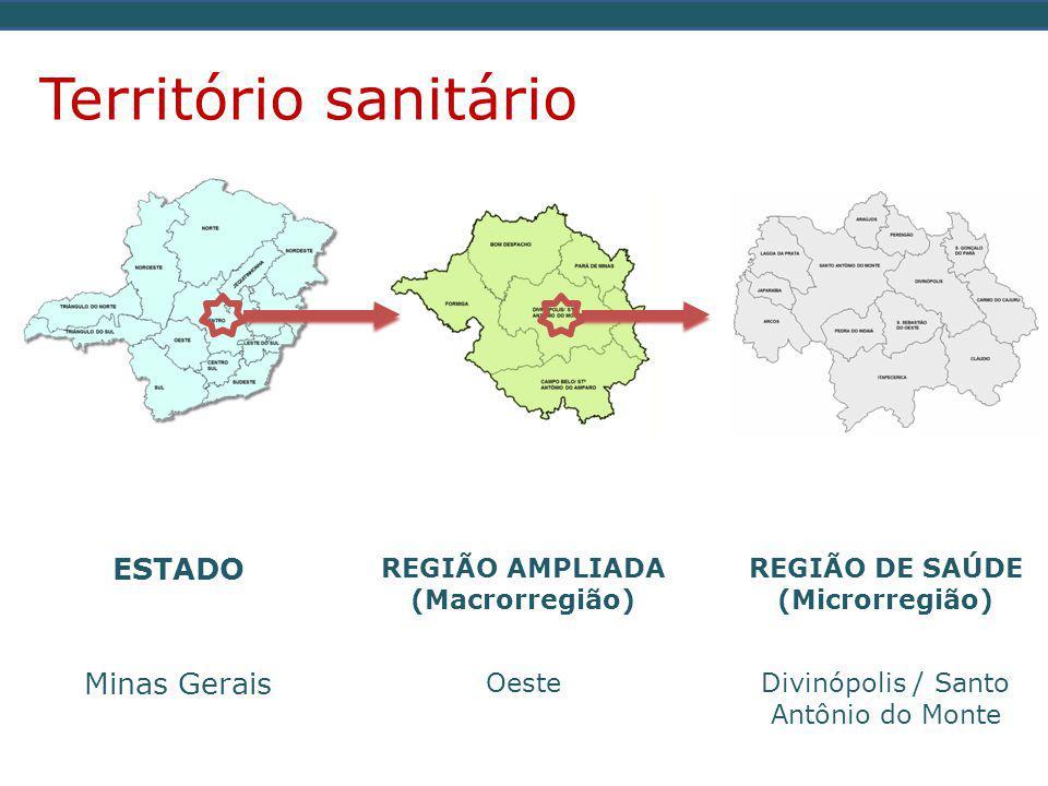 ESTADO Minas Gerais REGIÃO AMPLIADA (Macrorregião) Oeste REGIÃO DE SAÚDE (Microrregião) Divinópolis / Santo Antônio do Monte