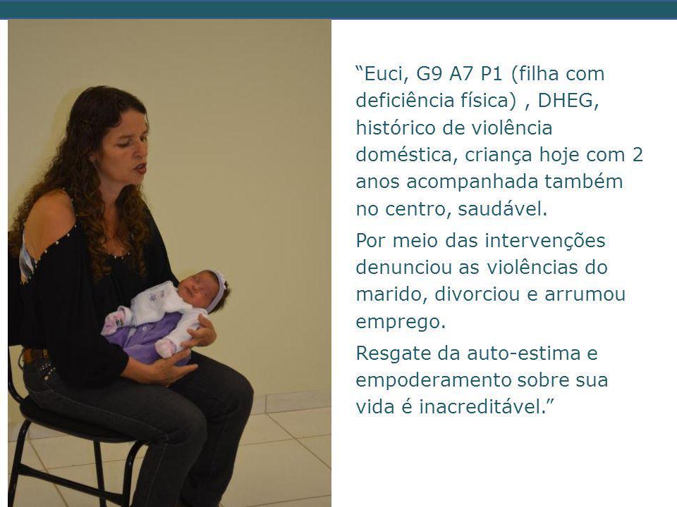 Euci, G9 A7 P1 (filha com deficiência física), DHEG, histórico de violência doméstica, criança hoje com 2 anos acompanhada também no centro, saudável.