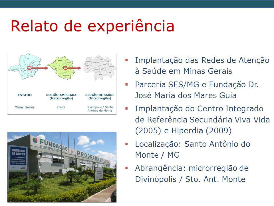 Relato de experiência  Implantação das Redes de Atenção à Saúde em Minas Gerais  Parceria SES/MG e Fundação Dr.