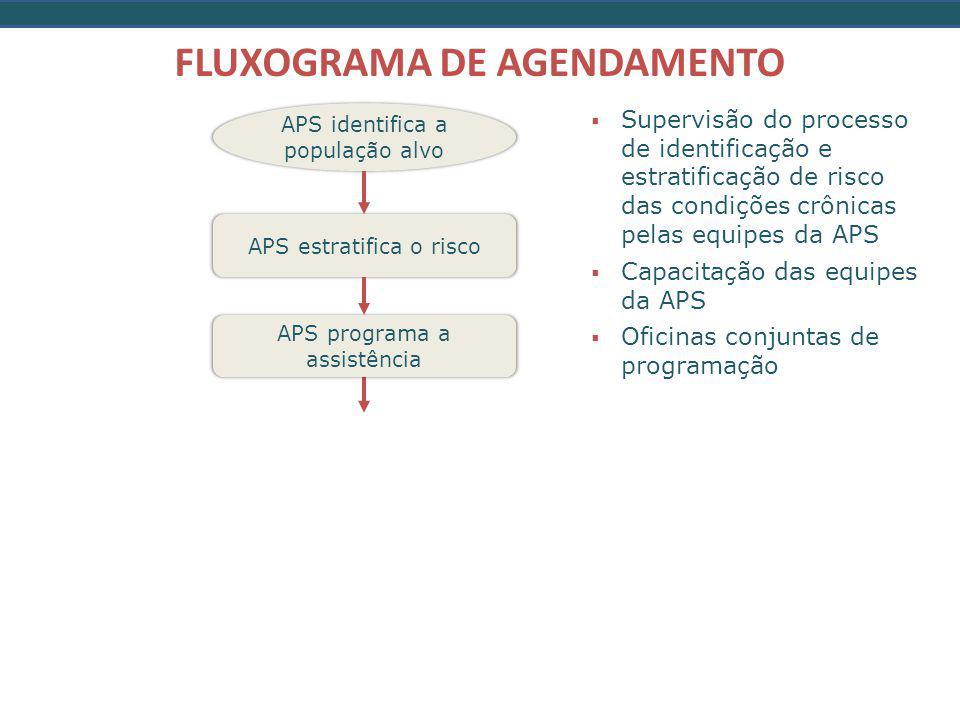 APS identifica a população alvo FLUXOGRAMA DE AGENDAMENTO APS estratifica o risco APS programa a assistência  Supervisão do processo de identificação e estratificação de risco das condições crônicas pelas equipes da APS  Capacitação das equipes da APS  Oficinas conjuntas de programação