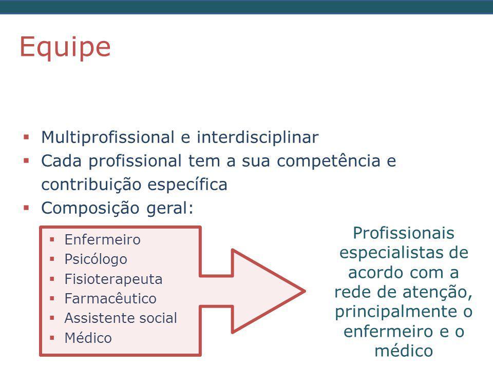  Multiprofissional e interdisciplinar  Cada profissional tem a sua competência e contribuição específica  Composição geral: Equipe  Enfermeiro  Psicólogo  Fisioterapeuta  Farmacêutico  Assistente social  Médico Profissionais especialistas de acordo com a rede de atenção, principalmente o enfermeiro e o médico