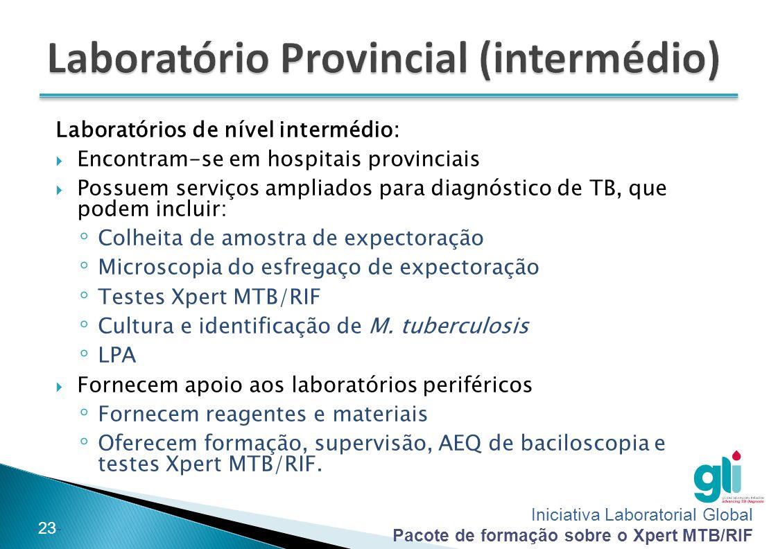 Iniciativa Laboratorial Global Pacote de formação sobre o Xpert MTB/RIF -23- Laboratórios de nível intermédio:  Encontram-se em hospitais provinciais