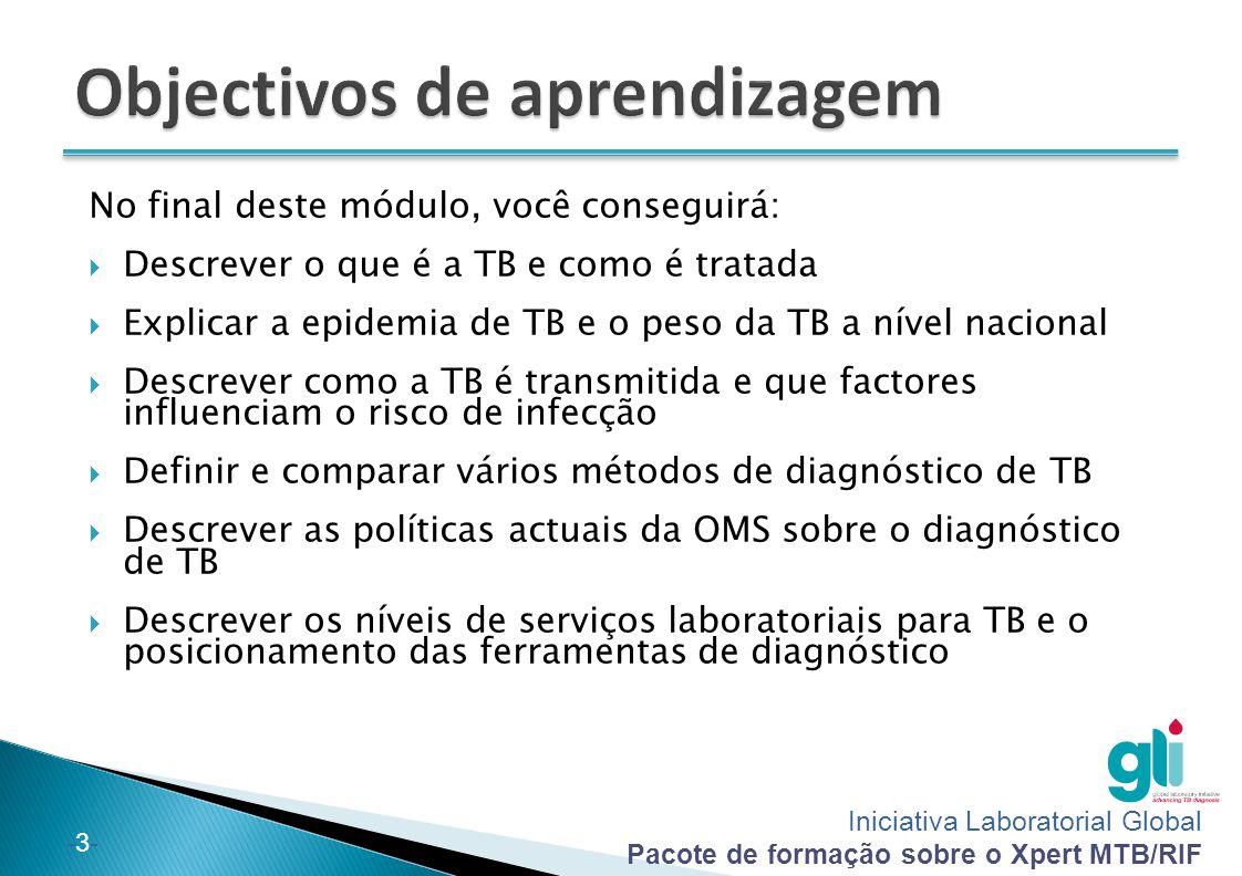 Iniciativa Laboratorial Global Pacote de formação sobre o Xpert MTB/RIF -24- Laboratórios centrais:  Encontram-se ao nível do país ou da província  Fornecem serviços abrangentes para diagnóstico de TB, que podem incluir: ◦ Colheita de amostra de expectoração ◦ Microscopia do esfregaço de expectoração ◦ Testes Xpert MTB/RIF ◦ LPA ◦ Cultura e identificação de M.