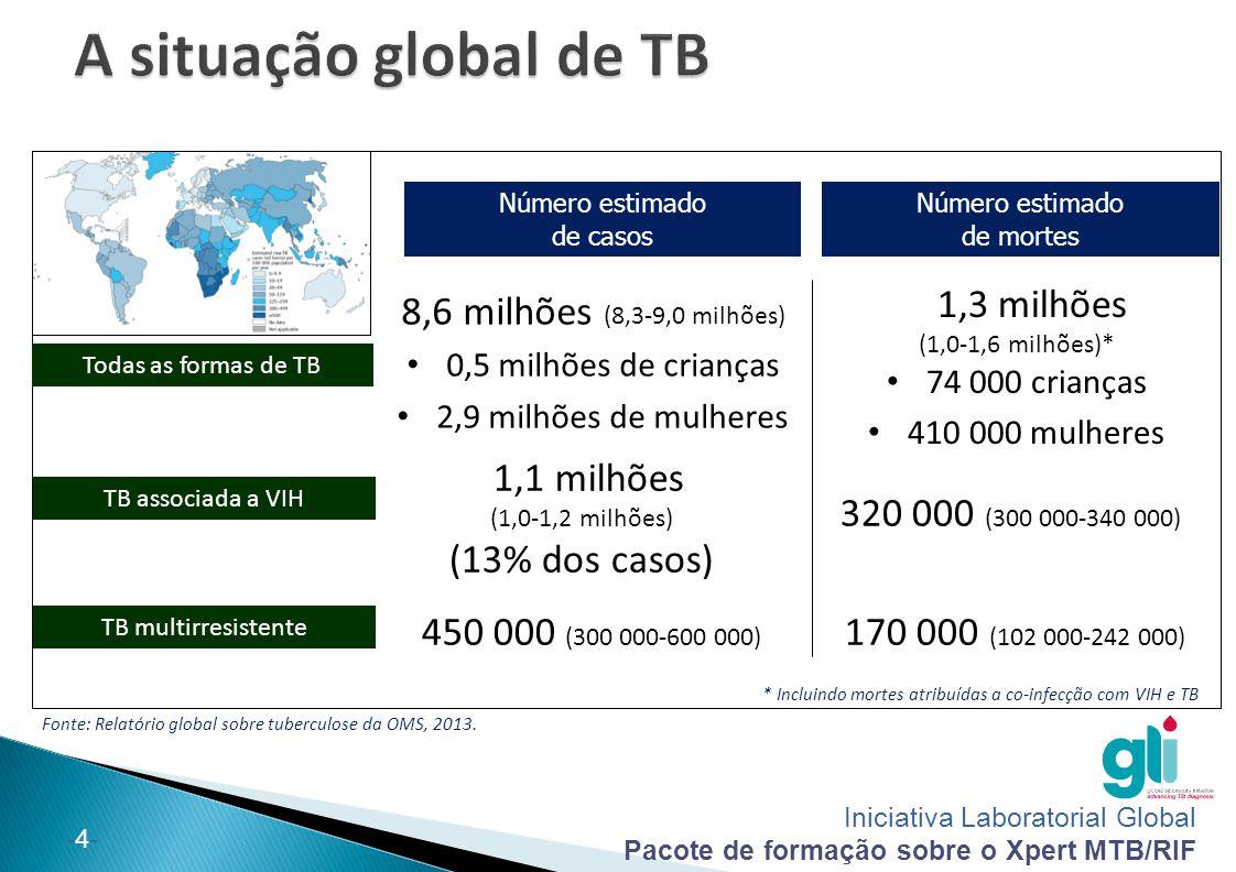 Iniciativa Laboratorial Global Pacote de formação sobre o Xpert MTB/RIF -5--5-  Incidência estimada da TB: 140000 casos em 2012 552 casos/100 000 pessoas  Mortalidade por TB estimada: 13000 casos em 2012 53 casos/100 000 pessoas  Percentagem estimada de casos novos de TB com MDR- TB: 3.5%