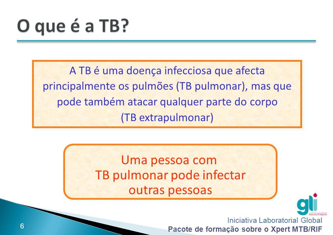 Iniciativa Laboratorial Global Pacote de formação sobre o Xpert MTB/RIF -6--6- A TB é uma doença infecciosa que afecta principalmente os pulmões (TB p