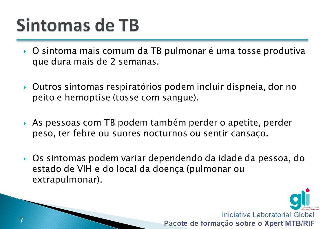 Iniciativa Laboratorial Global Pacote de formação sobre o Xpert MTB/RIF -7--7-  O sintoma mais comum da TB pulmonar é uma tosse produtiva que dura ma