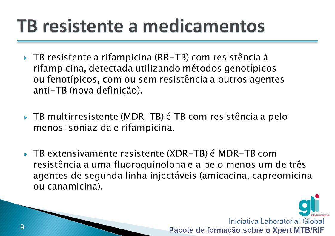 Iniciativa Laboratorial Global Pacote de formação sobre o Xpert MTB/RIF -20-  O ensaio do Xpert MTB/RIF é adequado para todos os níveis de laboratórios onde se encontra disponível uma infra-estrutura apropriada e onde existe um volume de casos que corresponde à capacidade do instrumento.