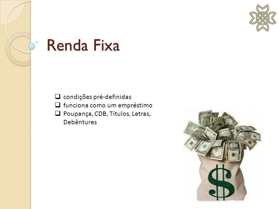 Renda Fixa  condições pré-definidas  funciona como um empréstimo  Poupança, CDB, Títulos, Letras, Debêntures