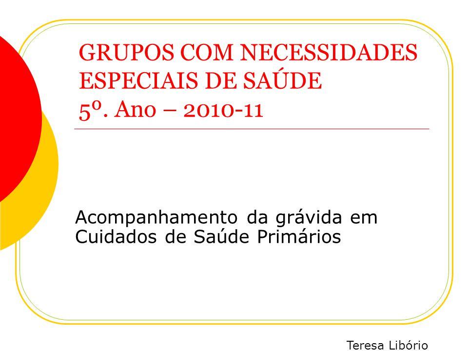 Teresa Libório Acompanhamento da grávida em Cuidados de Saúde Primários GRUPOS COM NECESSIDADES ESPECIAIS DE SAÚDE 5º. Ano – 2010-11