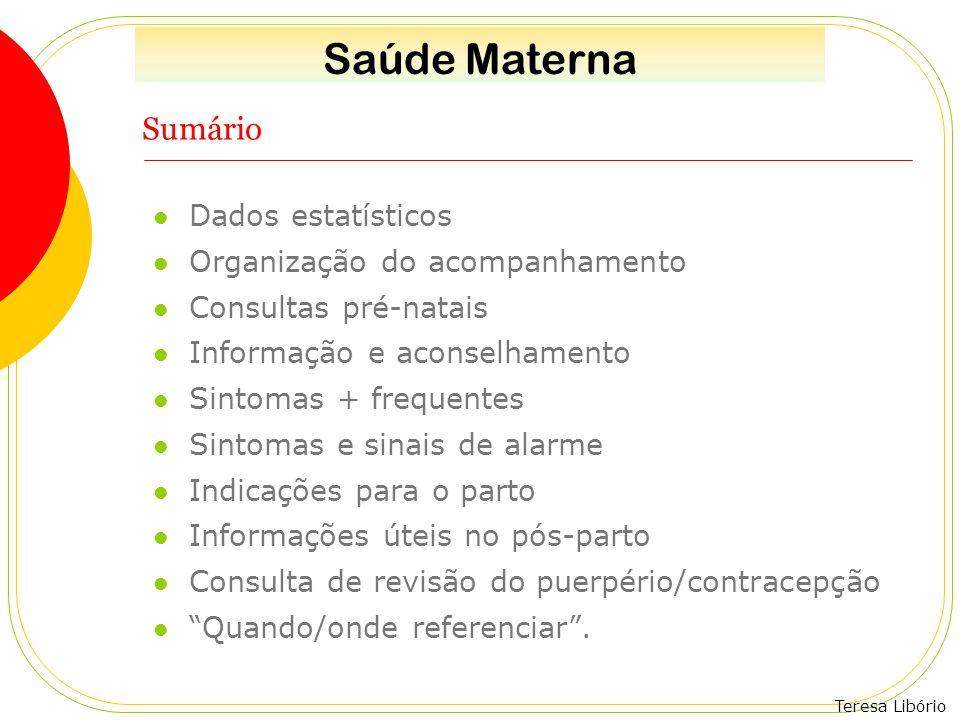 Teresa Libório Sumário Dados estatísticos Organização do acompanhamento Consultas pré-natais Informação e aconselhamento Sintomas + frequentes Sintoma