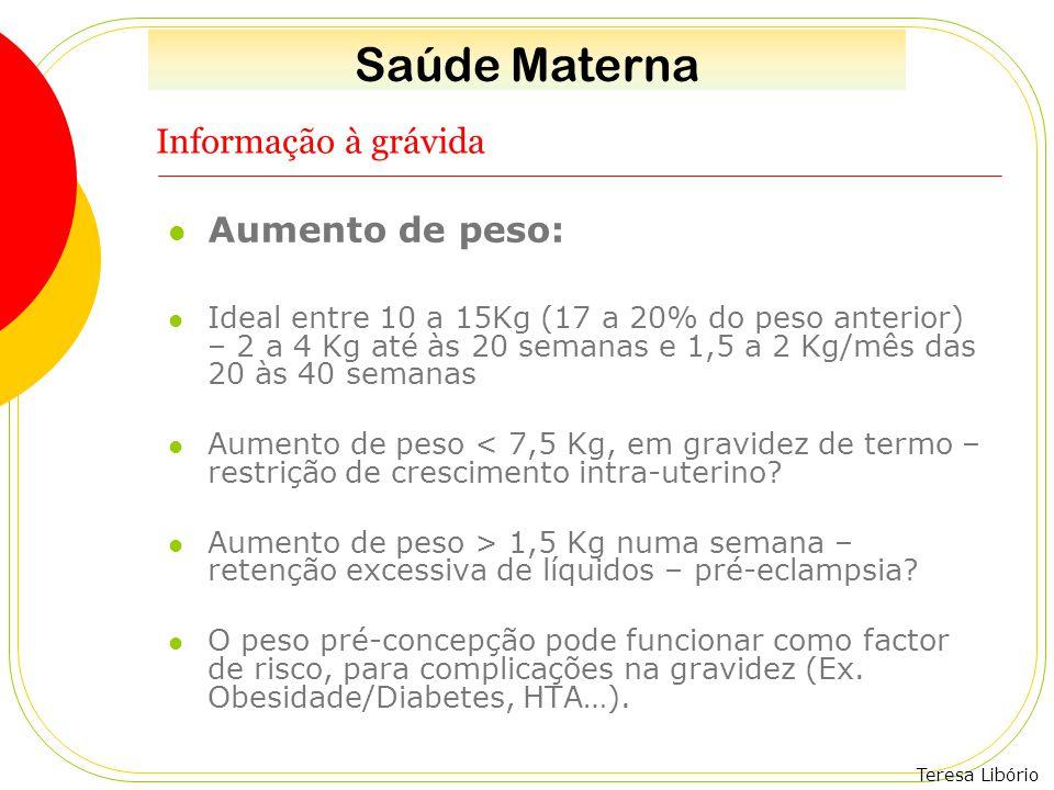 Teresa Libório Informação à grávida Aumento de peso: Ideal entre 10 a 15Kg (17 a 20% do peso anterior) – 2 a 4 Kg até às 20 semanas e 1,5 a 2 Kg/mês d