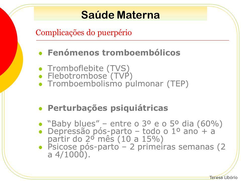 Teresa Libório Complicações do puerpério Fenómenos tromboembólicos Tromboflebite (TVS) Flebotrombose (TVP) Tromboembolismo pulmonar (TEP) Perturbações