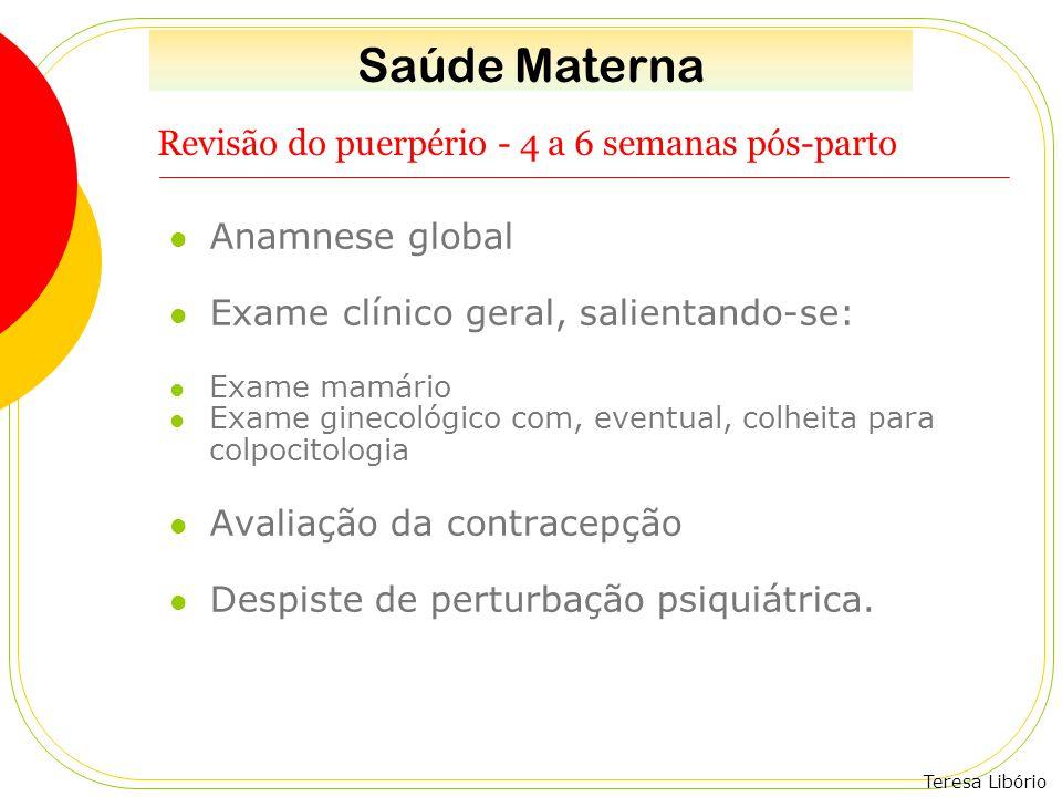 Teresa Libório Revisão do puerpério - 4 a 6 semanas pós-parto Anamnese global Exame clínico geral, salientando-se: Exame mamário Exame ginecológico co