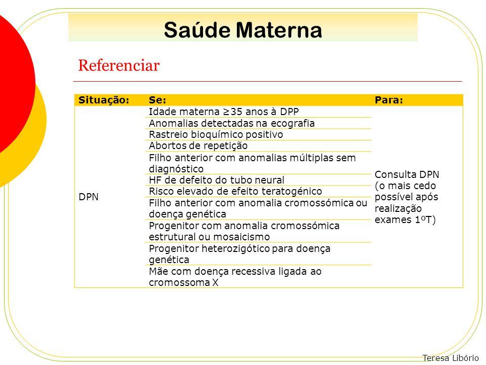 Teresa Libório Referenciar Situação:Se:Para: DPN Idade materna ≥35 anos à DPP Consulta DPN (o mais cedo possível após realização exames 1ºT) Anomalias