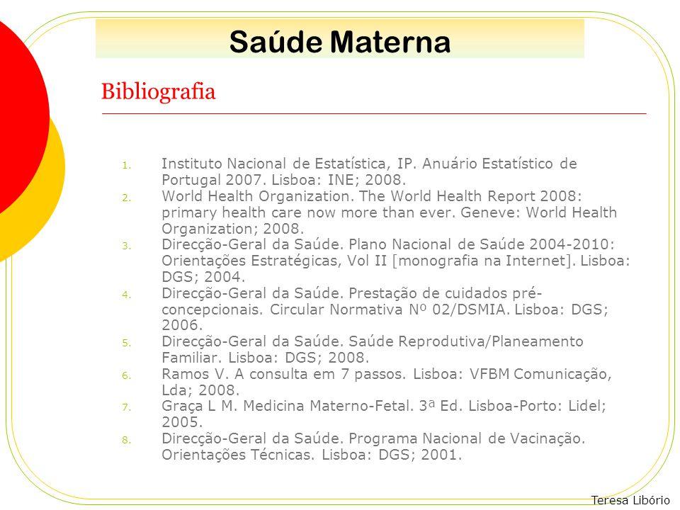 Teresa Libório Bibliografia 1. Instituto Nacional de Estatística, IP. Anuário Estatístico de Portugal 2007. Lisboa: INE; 2008. 2. World Health Organiz