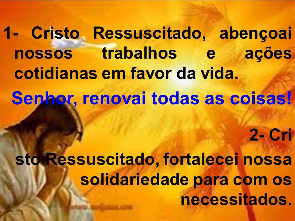1- Cristo Ressuscitado, abençoai nossos trabalhos e ações cotidianas em favor da vida. Senhor, renovai todas as coisas! 2- Cri sto Ressuscitado, forta