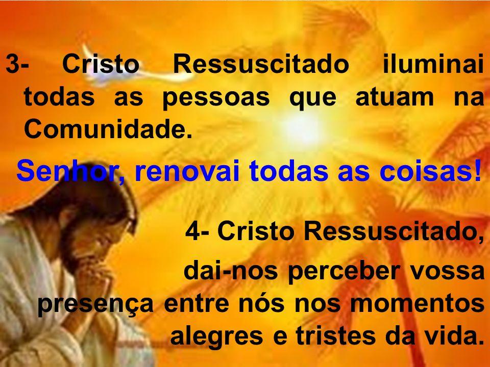 3- Cristo Ressuscitado iluminai todas as pessoas que atuam na Comunidade. Senhor, renovai todas as coisas! 4- Cristo Ressuscitado, dai-nos perceber vo