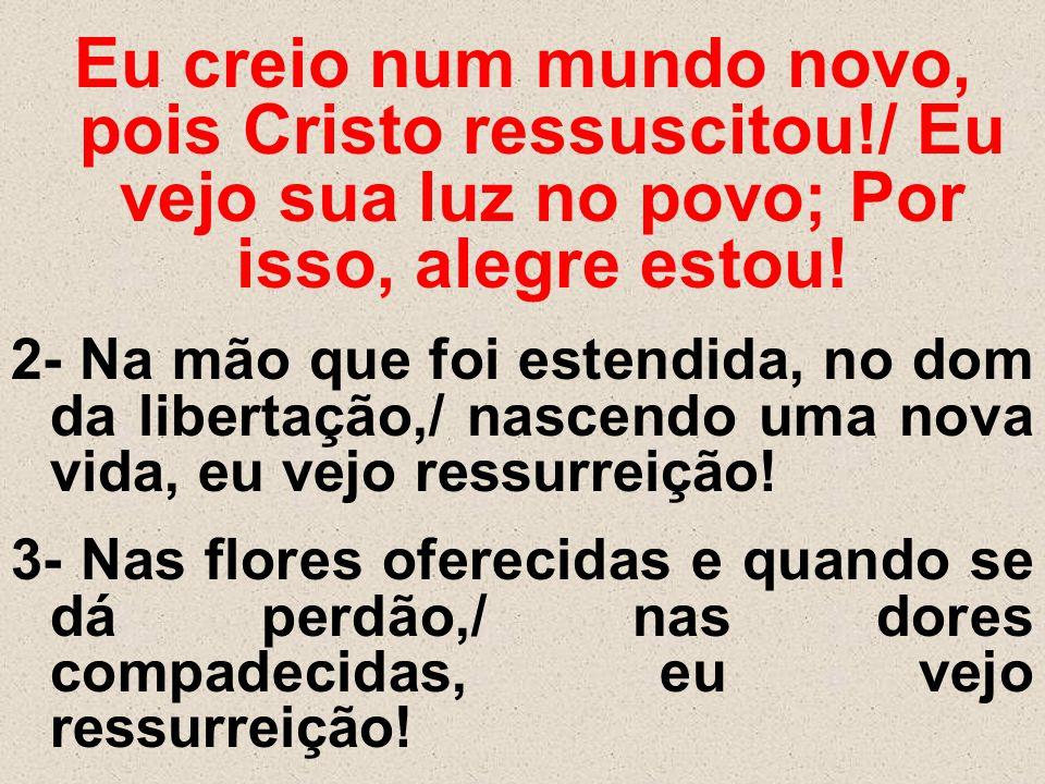 Eu creio num mundo novo, pois Cristo ressuscitou!/ Eu vejo sua luz no povo; Por isso, alegre estou! 2- Na mão que foi estendida, no dom da libertação,