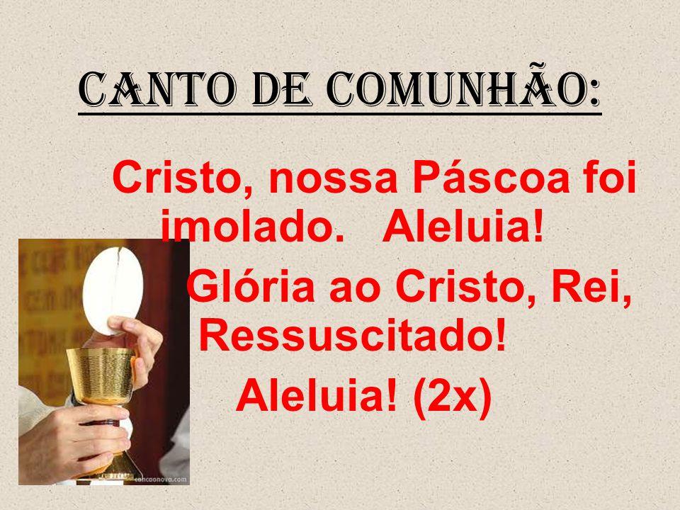 CANTO DE COMUNHÃO: Cristo, nossa Páscoa foi imolado. Aleluia! Glória ao Cristo, Rei, Ressuscitado! Aleluia! (2x)