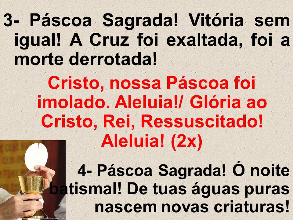 3- Páscoa Sagrada! Vitória sem igual! A Cruz foi exaltada, foi a morte derrotada! Cristo, nossa Páscoa foi imolado. Aleluia!/ Glória ao Cristo, Rei, R