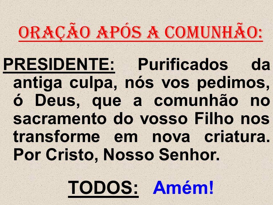 ORAÇÃO APÓS A COMUNHÃO: PRESIDENTE: Purificados da antiga culpa, nós vos pedimos, ó Deus, que a comunhão no sacramento do vosso Filho nos transforme e