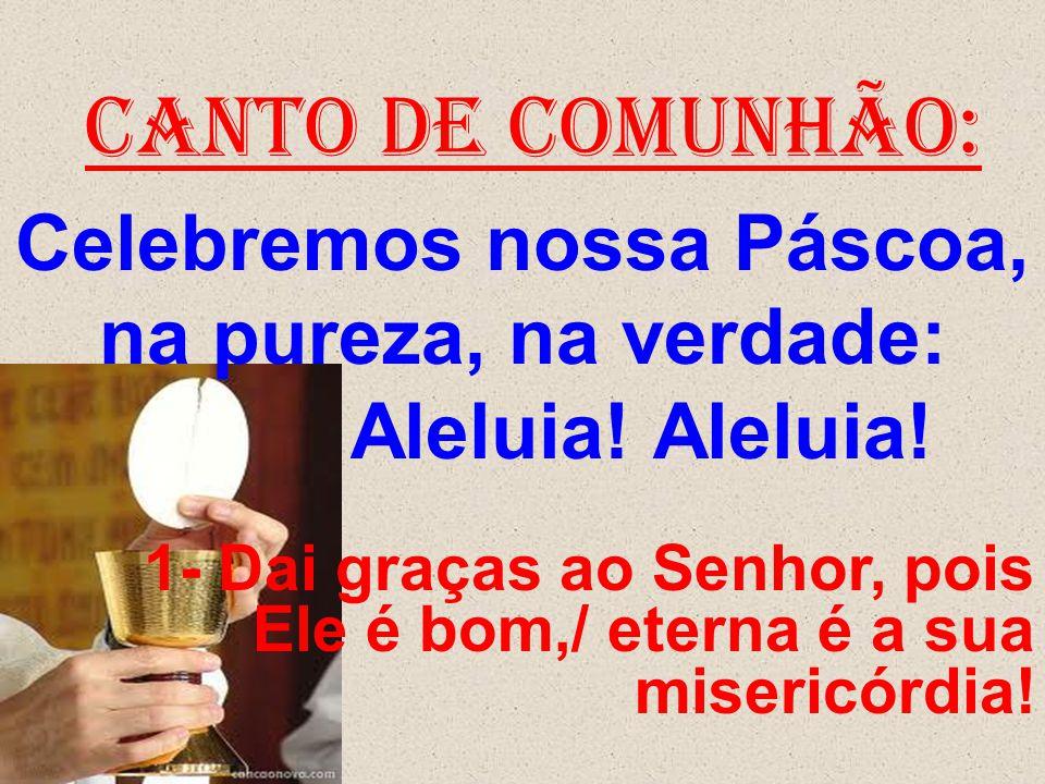 CANTO DE COMUNHÃO: Celebremos nossa Páscoa, na pureza, na verdade: Aleluia! Aleluia! 1- Dai graças ao Senhor, pois Ele é bom,/ eterna é a sua misericó
