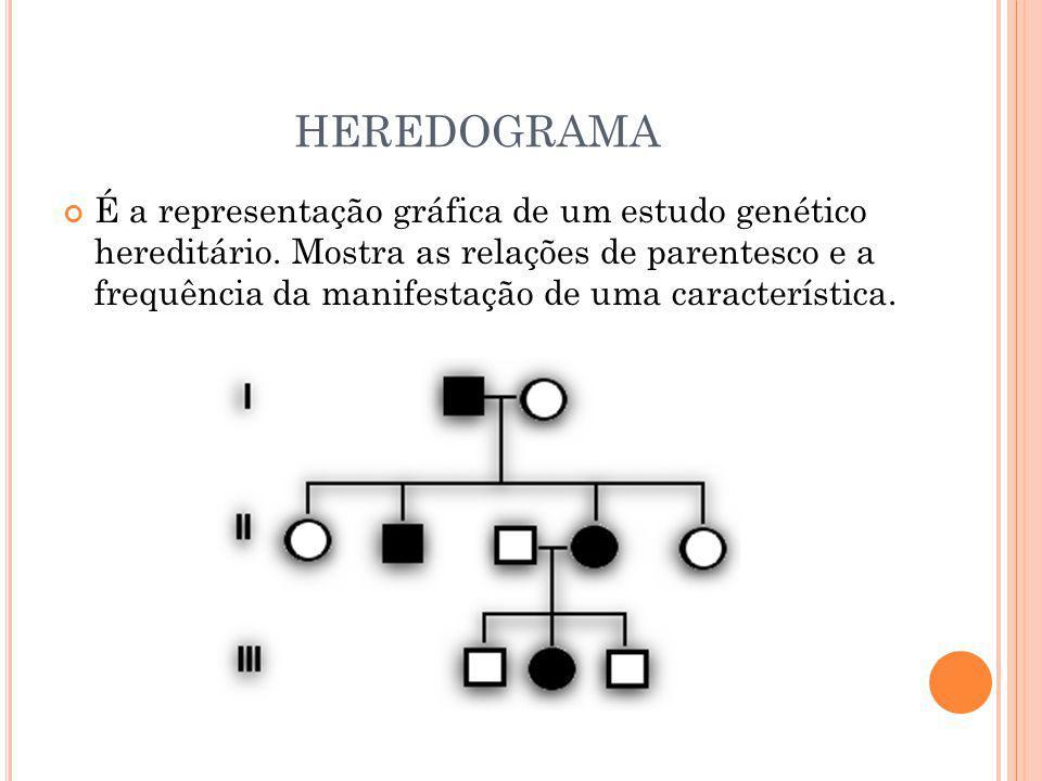 HEREDOGRAMA É a representação gráfica de um estudo genético hereditário. Mostra as relações de parentesco e a frequência da manifestação de uma caract