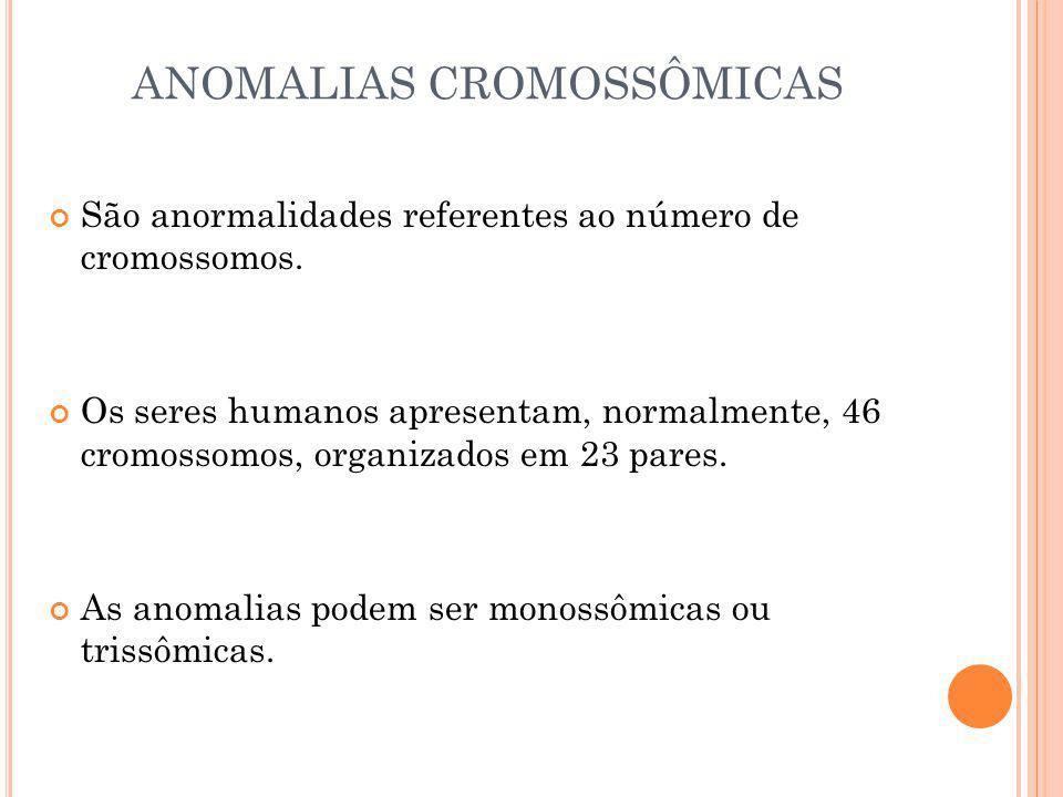 ANOMALIAS CROMOSSÔMICAS São anormalidades referentes ao número de cromossomos. Os seres humanos apresentam, normalmente, 46 cromossomos, organizados e