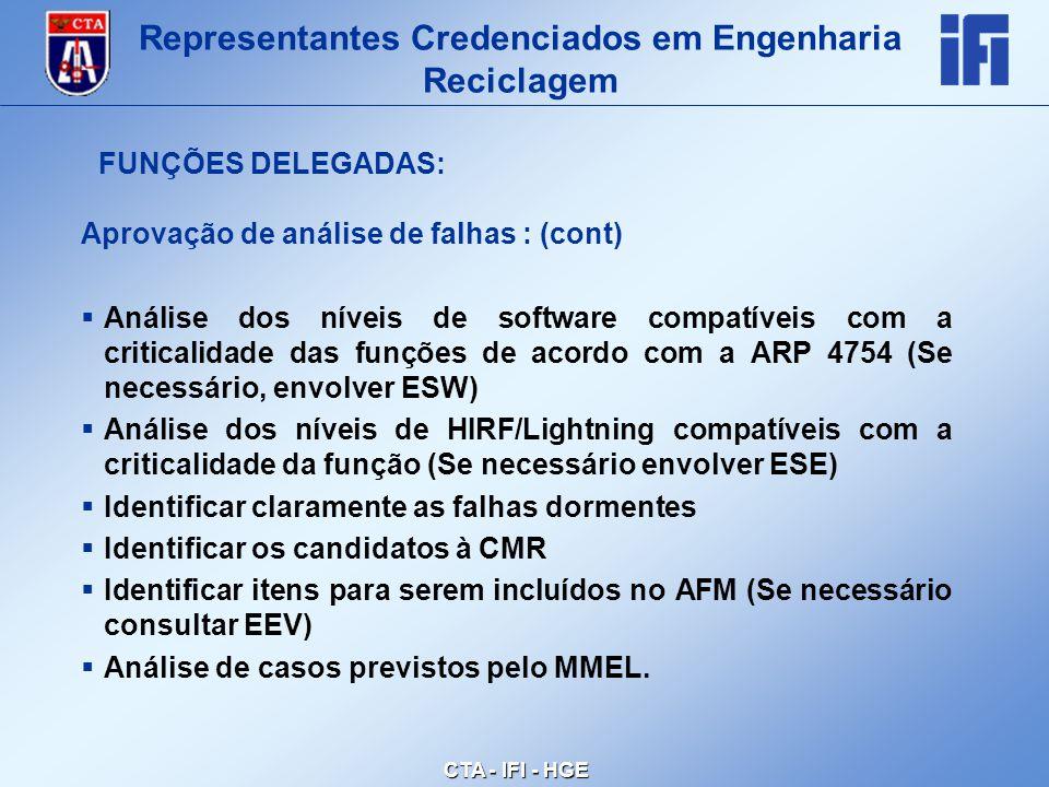 CTA - IFI - HGE Aprovação de análise de falhas : (cont)  Análise dos níveis de software compatíveis com a criticalidade das funções de acordo com a ARP 4754 (Se necessário, envolver ESW)  Análise dos níveis de HIRF/Lightning compatíveis com a criticalidade da função (Se necessário envolver ESE)  Identificar claramente as falhas dormentes  Identificar os candidatos à CMR  Identificar itens para serem incluídos no AFM (Se necessário consultar EEV)  Análise de casos previstos pelo MMEL.