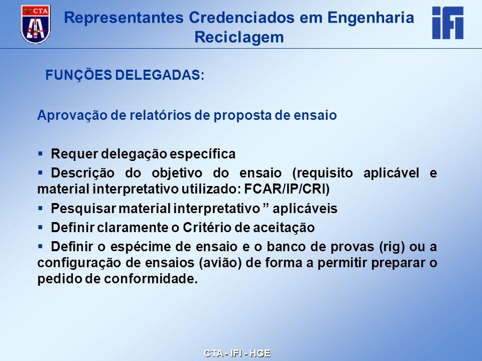 CTA - IFI - HGE Aprovação de relatórios de proposta de ensaio  Requer delegação específica  Descrição do objetivo do ensaio (requisito aplicável e material interpretativo utilizado: FCAR/IP/CRI)  Pesquisar material interpretativo aplicáveis  Definir claramente o Critério de aceitação  Definir o espécime de ensaio e o banco de provas (rig) ou a configuração de ensaios (avião) de forma a permitir preparar o pedido de conformidade.
