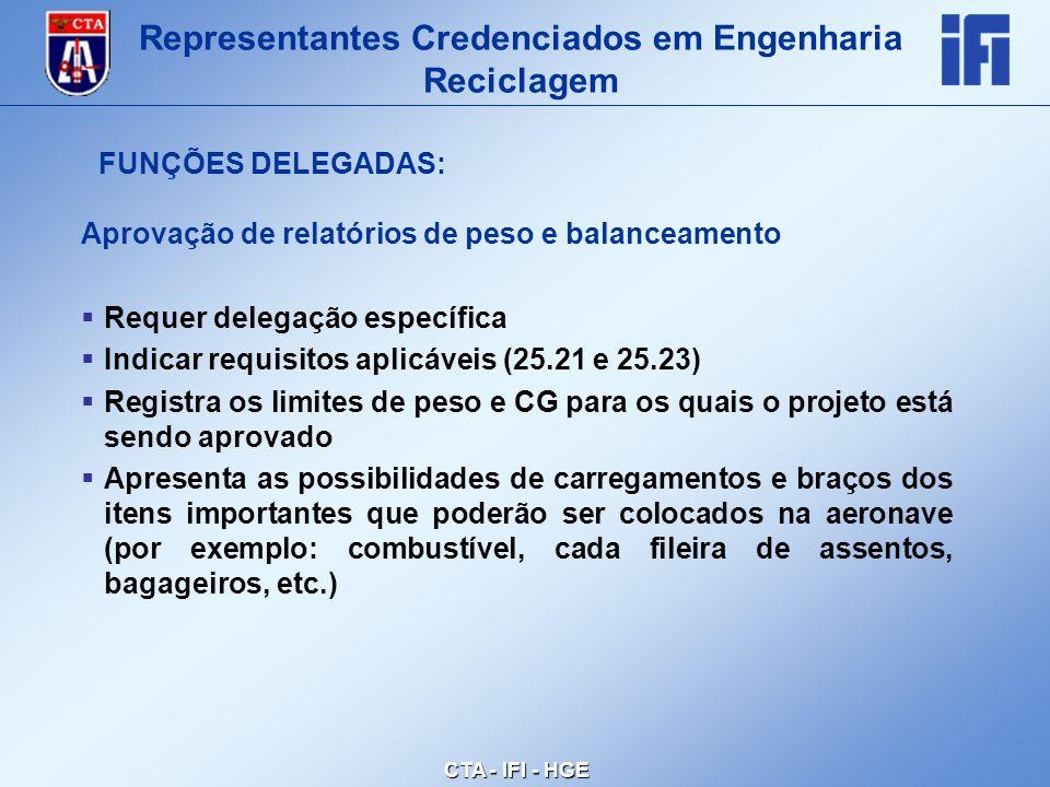 CTA - IFI - HGE Aprovação de relatórios de peso e balanceamento  Requer delegação específica  Indicar requisitos aplicáveis (25.21 e 25.23)  Registra os limites de peso e CG para os quais o projeto está sendo aprovado  Apresenta as possibilidades de carregamentos e braços dos itens importantes que poderão ser colocados na aeronave (por exemplo: combustível, cada fileira de assentos, bagageiros, etc.) Representantes Credenciados em Engenharia Reciclagem FUNÇÕES DELEGADAS: