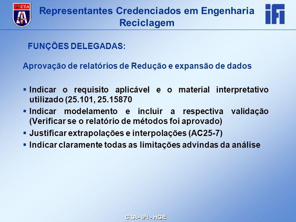 CTA - IFI - HGE Aprovação de relatórios de Redução e expansão de dados  Indicar o requisito aplicável e o material interpretativo utilizado (25.101, 25.15870  Indicar modelamento e incluir a respectiva validação (Verificar se o relatório de métodos foi aprovado)  Justificar extrapolações e interpolações (AC25-7)  Indicar claramente todas as limitações advindas da análise Representantes Credenciados em Engenharia Reciclagem FUNÇÕES DELEGADAS: