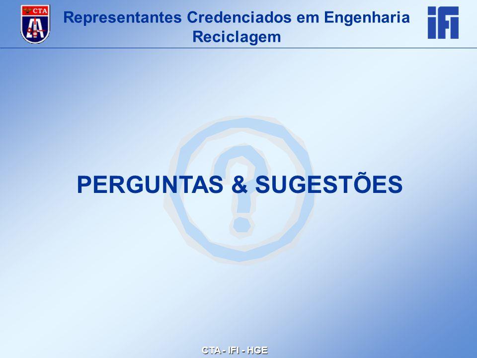 CTA - IFI - HGE Representantes Credenciados em Engenharia Reciclagem PERGUNTAS & SUGESTÕES