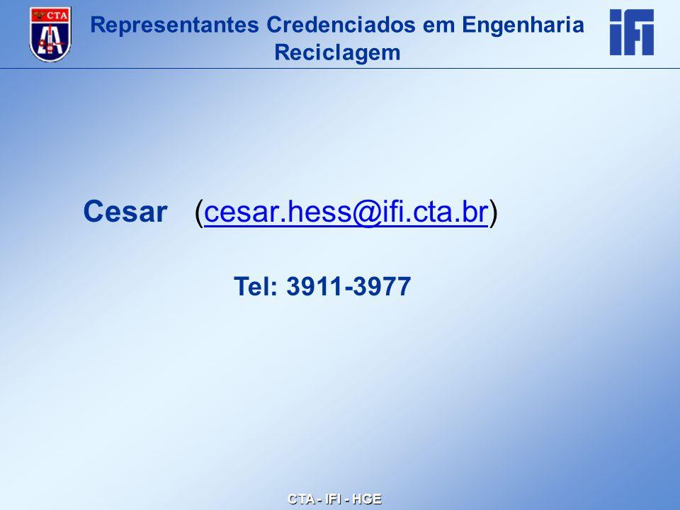 CTA - IFI - HGE Cesar (cesar.hess@ifi.cta.br)cesar.hess@ifi.cta.br Representantes Credenciados em Engenharia Reciclagem Tel: 3911-3977