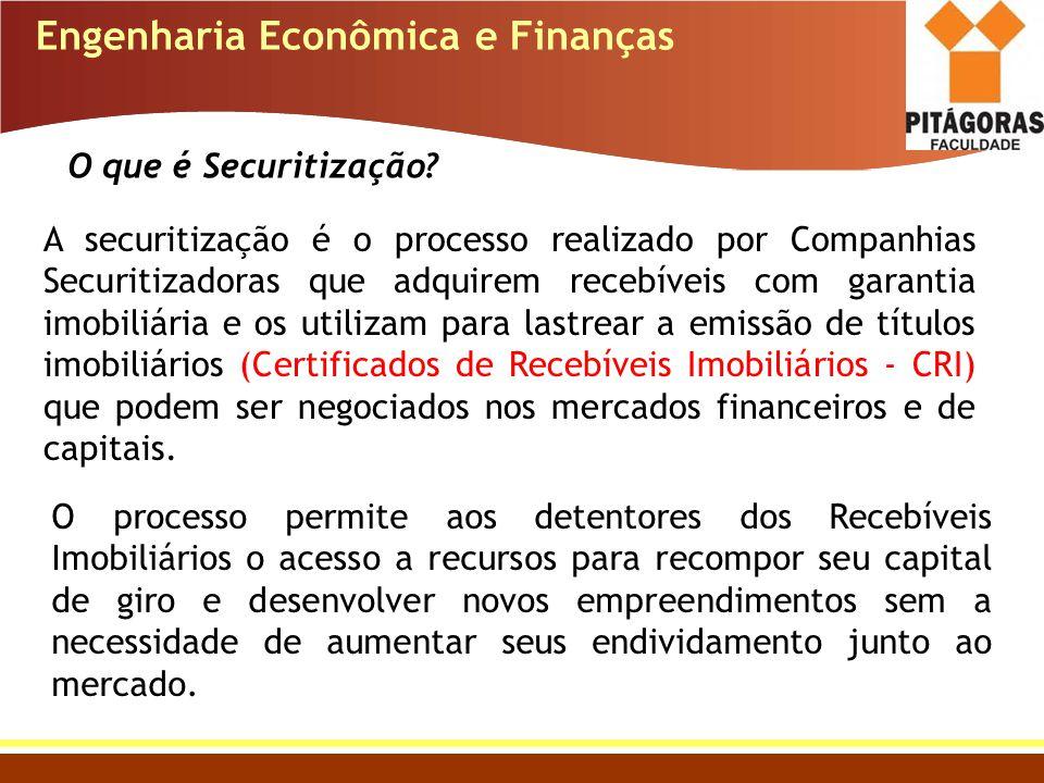 A securitização é o processo realizado por Companhias Securitizadoras que adquirem recebíveis com garantia imobiliária e os utilizam para lastrear a e
