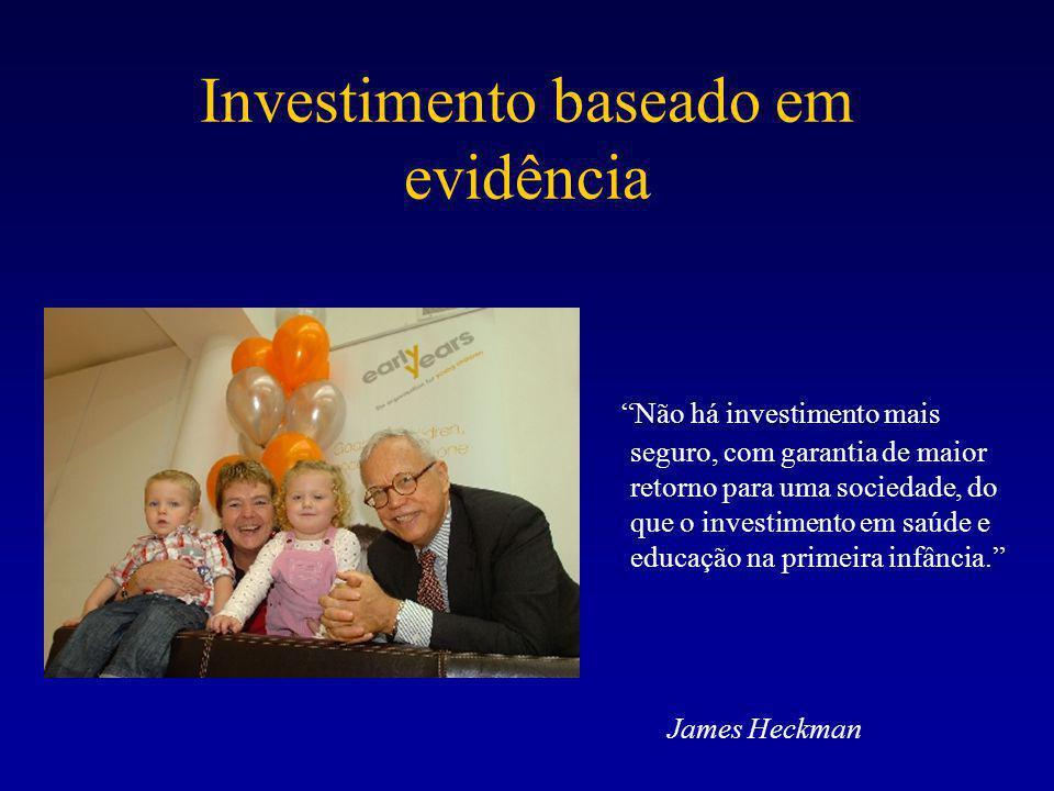Investimento baseado em evidência Não há investimento mais seguro, com garantia de maior retorno para uma sociedade, do que o investimento em saúde e educação na primeira infância. James Heckman
