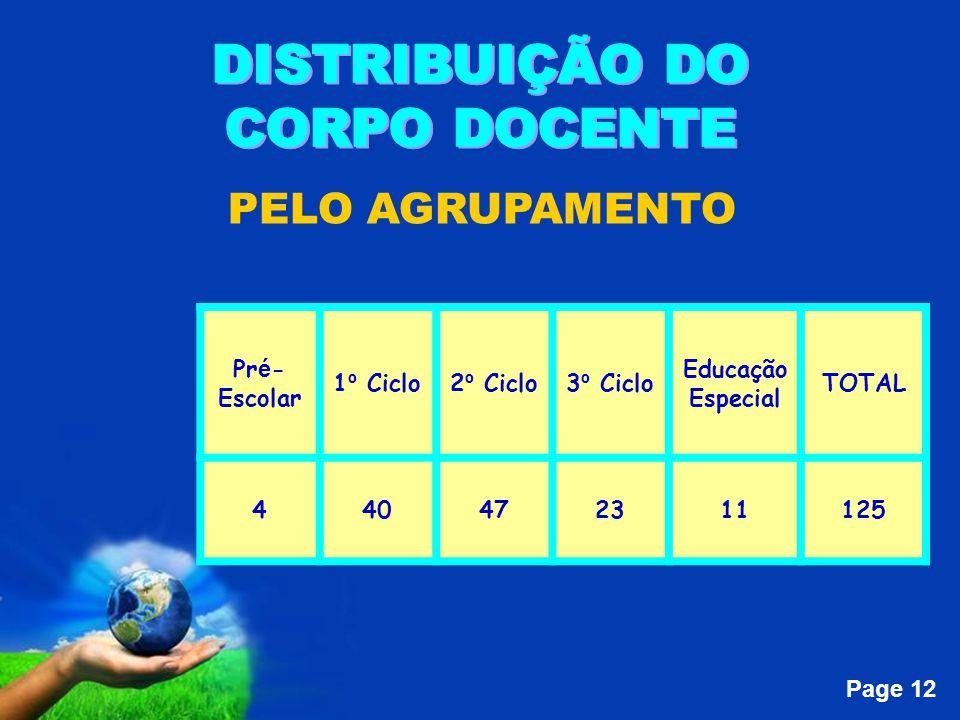 Page 12 PELO AGRUPAMENTO Pr é - Escolar 1 º Ciclo2 º Ciclo3 º Ciclo Educação Especial TOTAL 440472311125