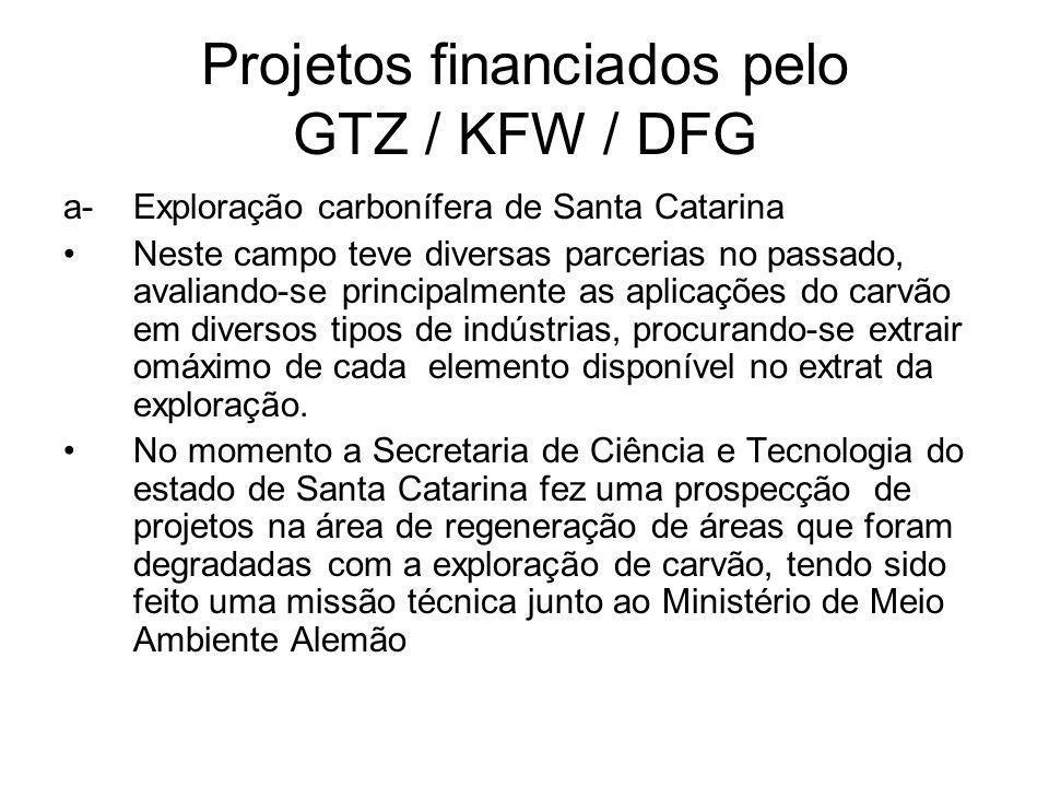 Projetos financiados pelo GTZ / KFW / DFG a- Exploração carbonífera de Santa Catarina Neste campo teve diversas parcerias no passado, avaliando-se principalmente as aplicações do carvão em diversos tipos de indústrias, procurando-se extrair omáximo de cada elemento disponível no extrat da exploração.