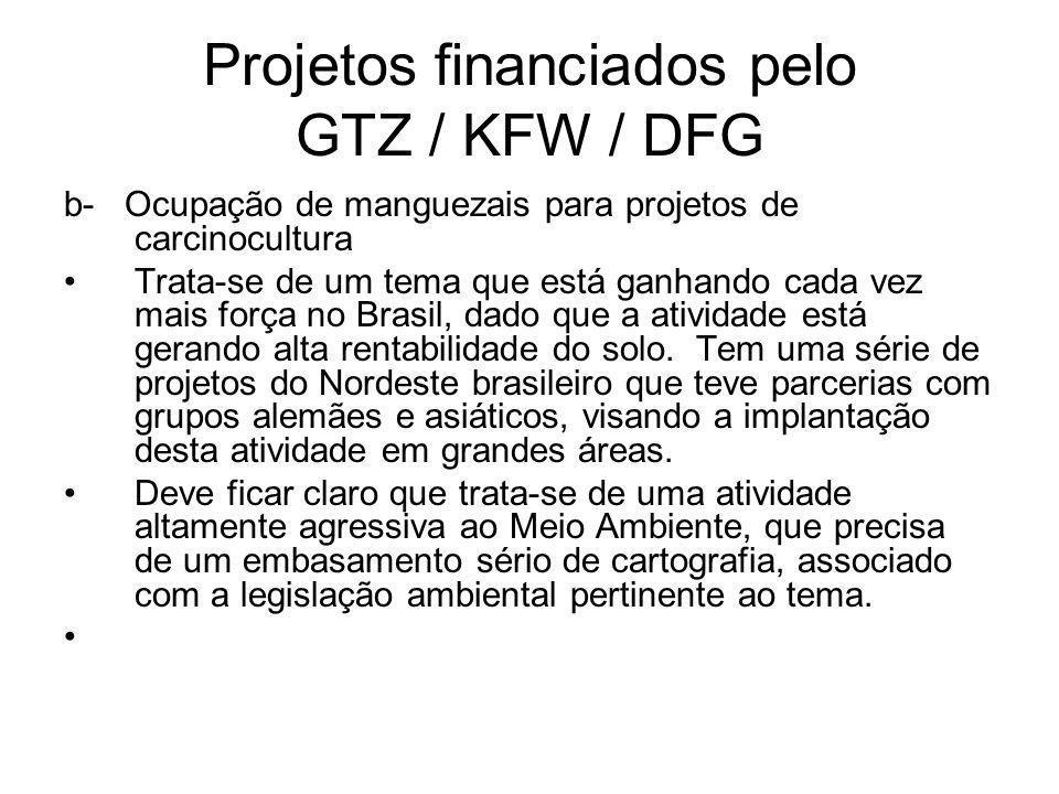 Projetos financiados pelo GTZ / KFW / DFG b- Ocupação de manguezais para projetos de carcinocultura Trata-se de um tema que está ganhando cada vez mais força no Brasil, dado que a atividade está gerando alta rentabilidade do solo.