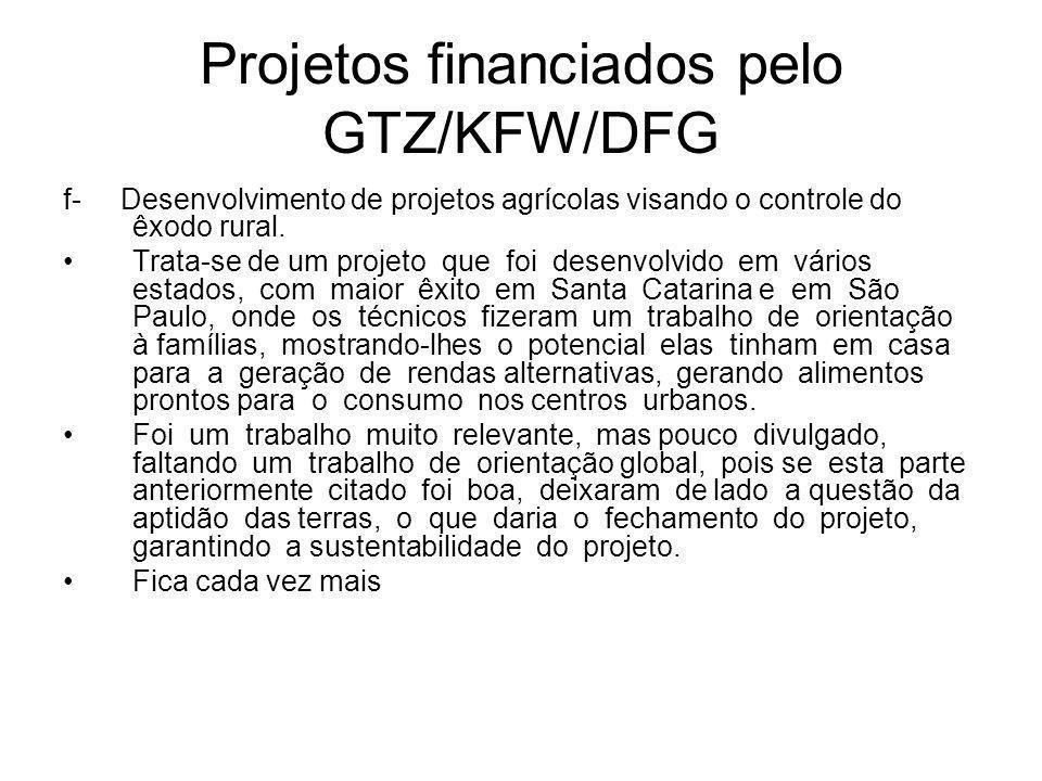 Projetos financiados pelo GTZ/KFW/DFG f- Desenvolvimento de projetos agrícolas visando o controle do êxodo rural.