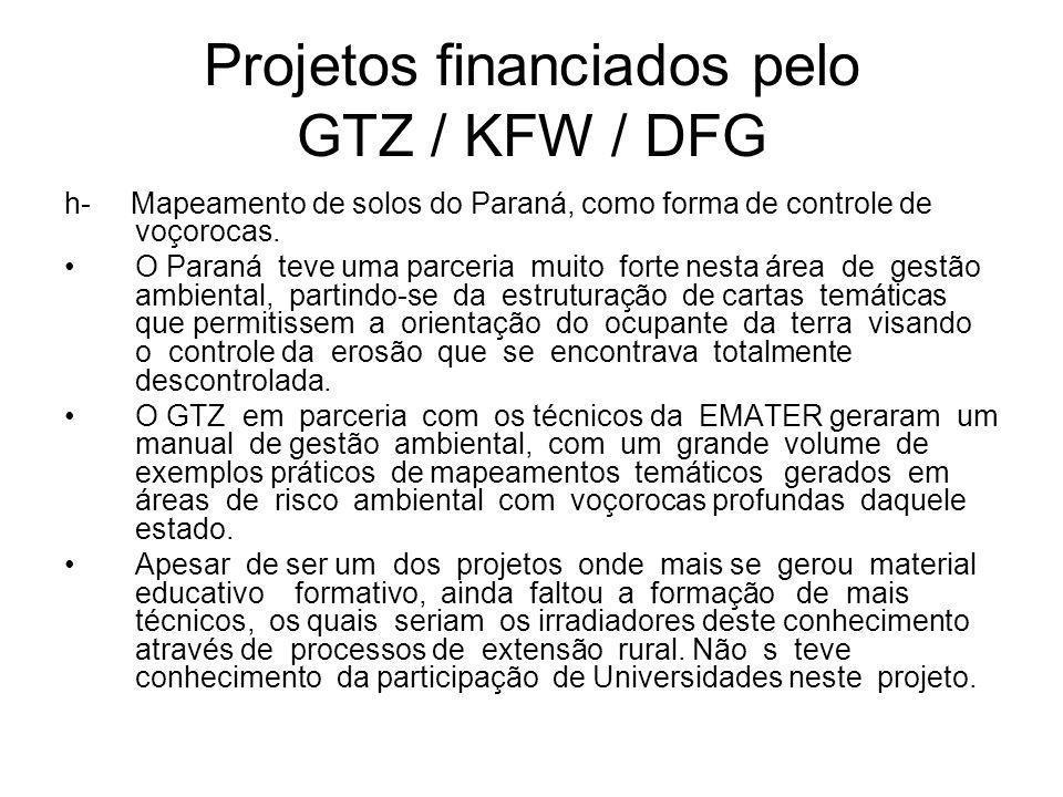 Projetos financiados pelo GTZ / KFW / DFG h- Mapeamento de solos do Paraná, como forma de controle de voçorocas.