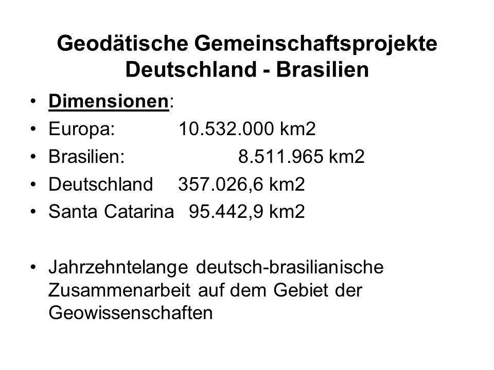 Dimensionen: Europa: 10.532.000 km2 Brasilien: 8.511.965 km2 Deutschland357.026,6 km2 Santa Catarina 95.442,9 km2 Jahrzehntelange deutsch-brasilianische Zusammenarbeit auf dem Gebiet der Geowissenschaften